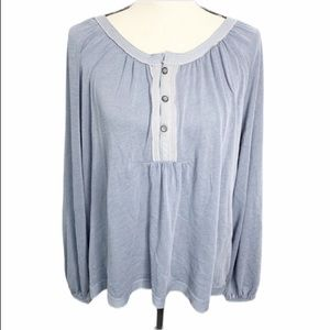 We the free blue button blouse M
